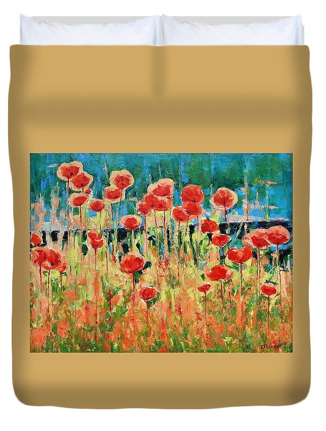 Poppies Duvet Cover featuring the painting Poppies And Traverses 2 by Iliyan Bozhanov