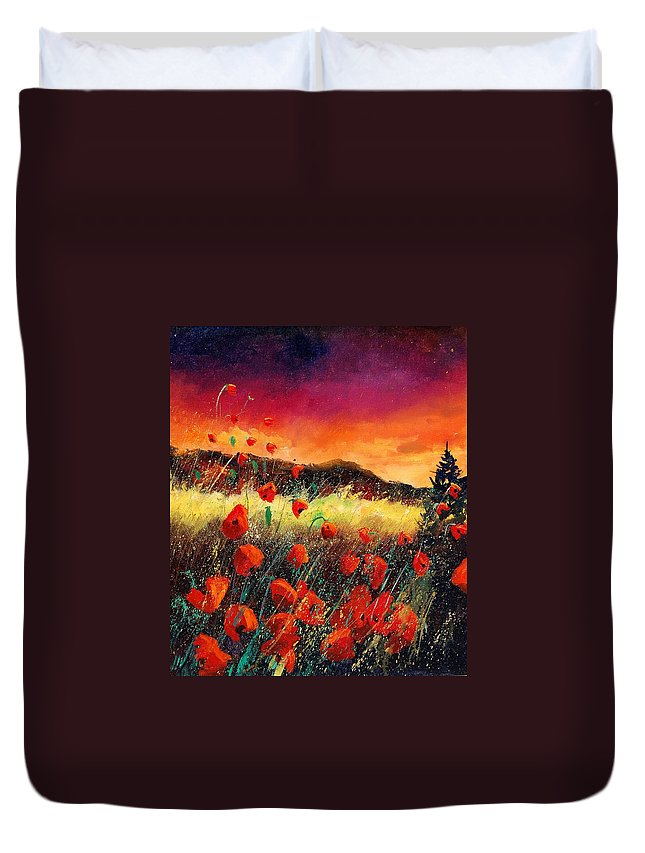 Poppies Duvet Cover featuring the painting Poppies At Sunset 67 by Pol Ledent