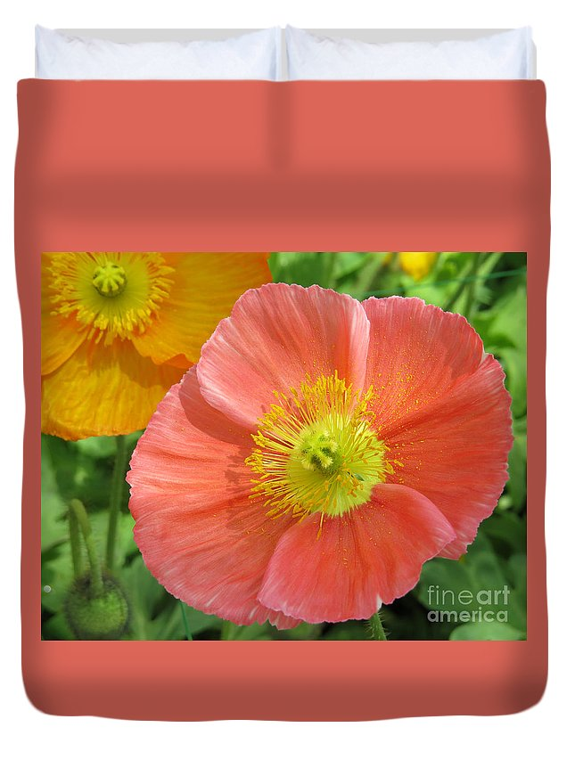 Flower Duvet Cover featuring the photograph Poppies by Dawn Gari