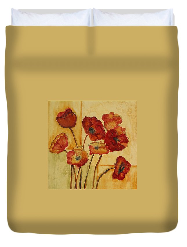 Poppies Duvet Cover featuring the painting Poppies by Diane Dean