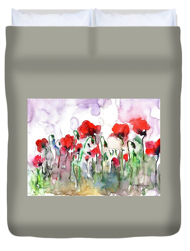 Poppies Duvet Cover featuring the painting Poppies by Faruk Koksal