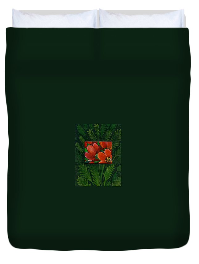 Poppy Duvet Cover featuring the painting Poppies by Helena Tiainen
