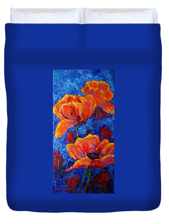 Poppies Duvet Cover featuring the painting Poppies II by Marion Rose
