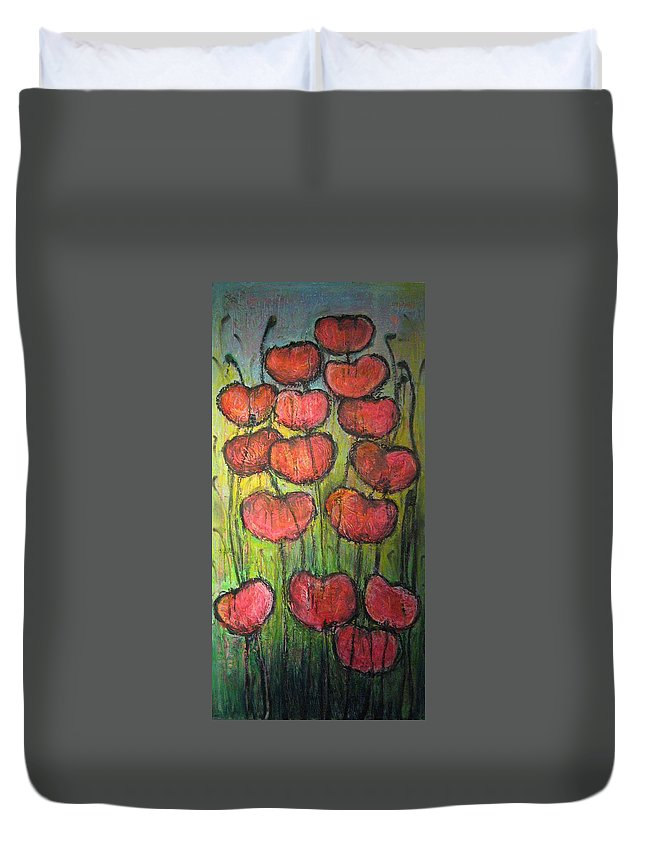 Poppies Duvet Cover featuring the painting Poppies In Oil by Laurie Maves ART