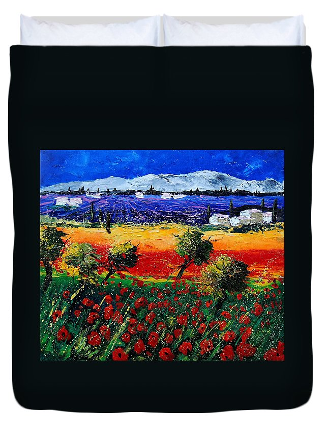Poppy Duvet Cover featuring the painting Poppies in Provence by Pol Ledent