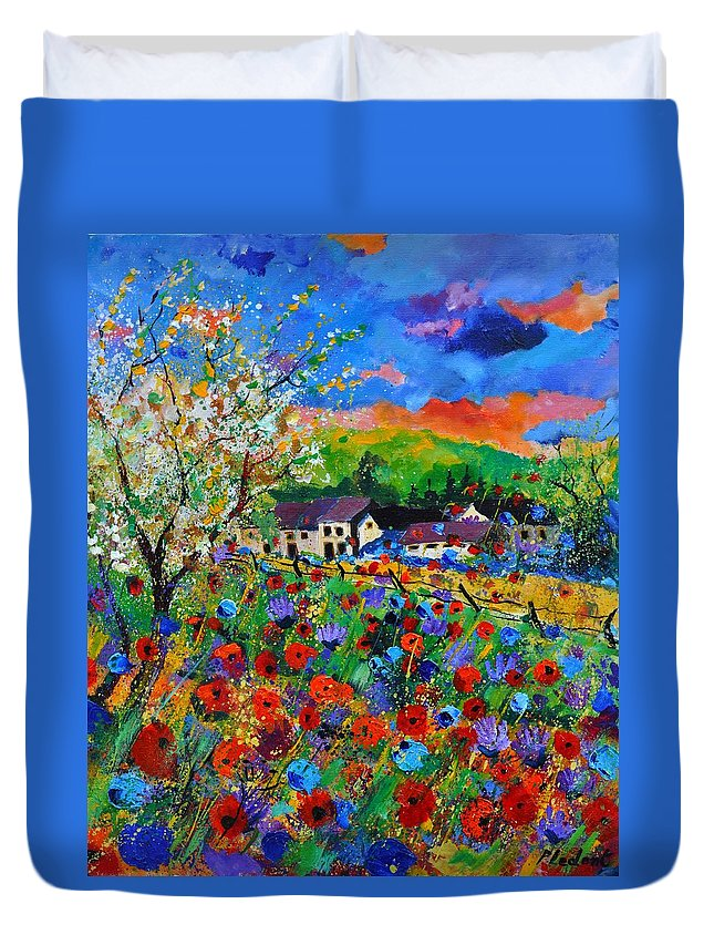 Poppies Duvet Cover featuring the painting Poppies in Sorinnes by Pol Ledent