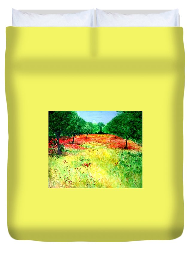 Landscape Duvet Cover featuring the painting Poppies In The Almond Grove by Lizzy Forrester