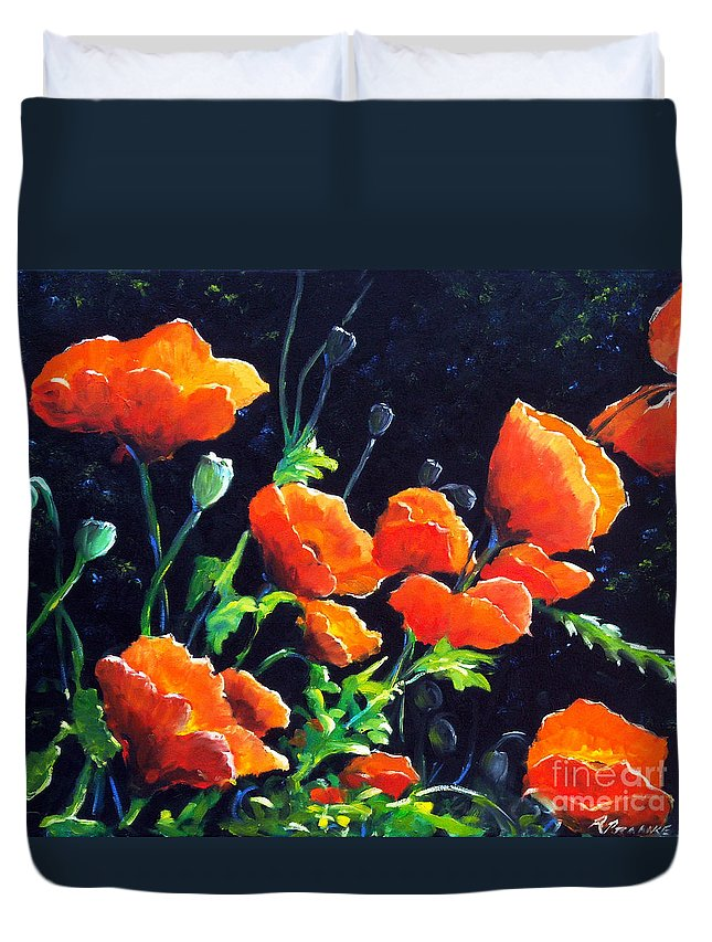 Pavot Duvet Cover featuring the painting Poppies In The Light by Richard T Pranke