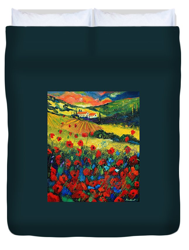 Flowers Duvet Cover featuring the painting Poppies In Tuscany by Pol Ledent
