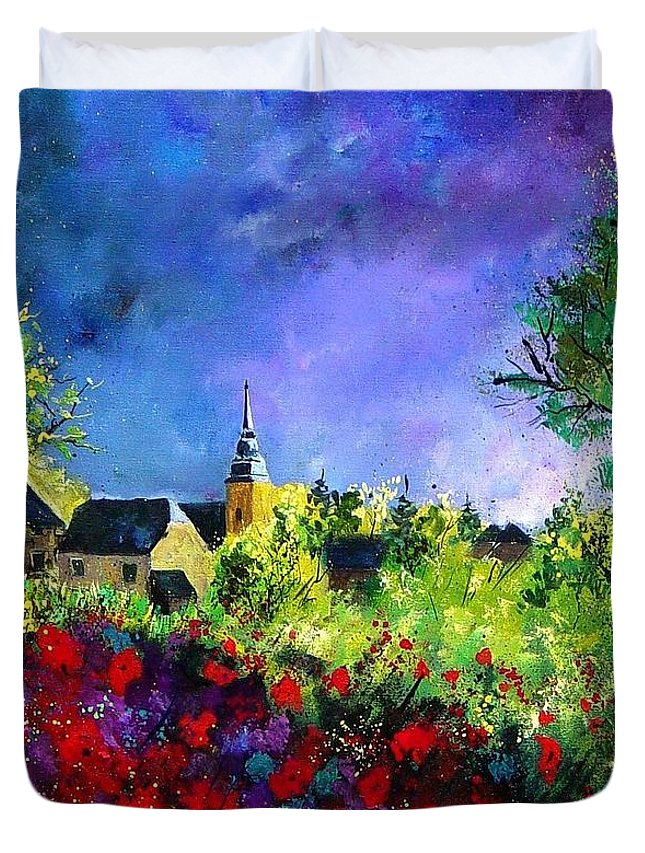Flowers Duvet Cover featuring the painting Poppies In Villers by Pol Ledent