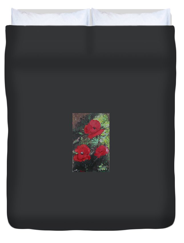 Red Duvet Cover featuring the painting Poppies by Lizzy Forrester