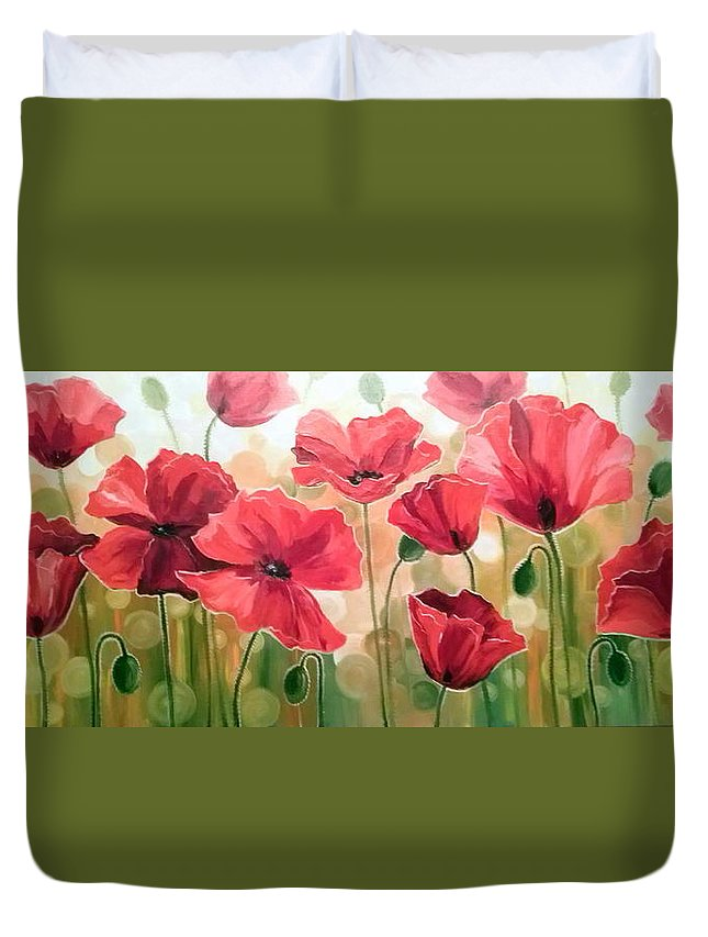 Poppies Oil Painting On Canvas On Cardboard Duvet Cover featuring the painting Poppies by Olha Darchuk