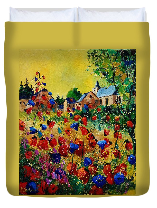 Flowers Duvet Cover featuring the painting Poppies Sosoye by Pol Ledent