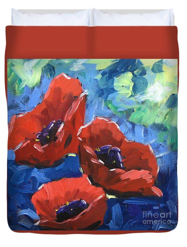 Art Duvet Cover featuring the painting Poppies Splender by Richard T Pranke
