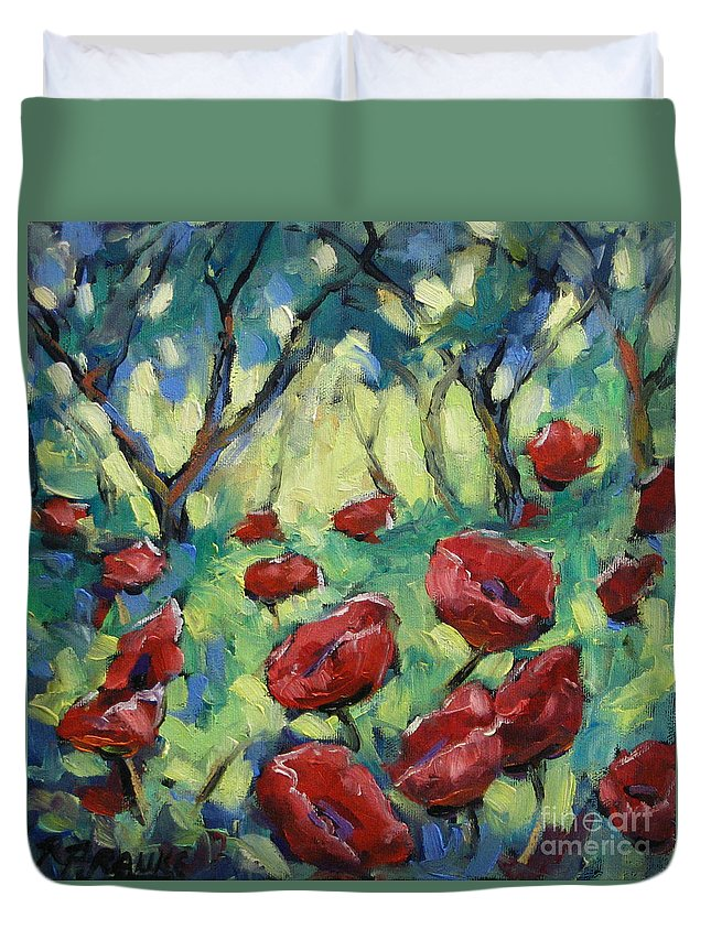 Art Duvet Cover featuring the painting Poppies Through The Forest by Richard T Pranke