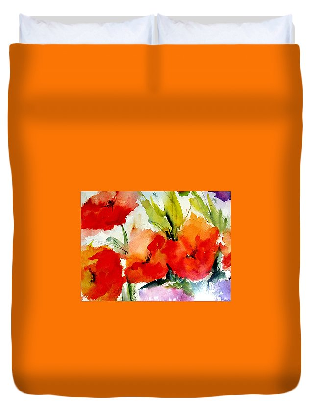 Floral Duvet Cover featuring the painting Poppies by Vesna Grundler