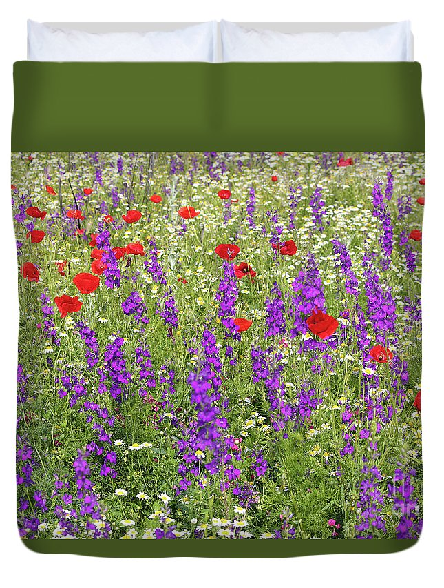 Camomile Duvet Cover featuring the photograph Poppy And Wild Flowers Meadow Nature Scene by Goce Risteski