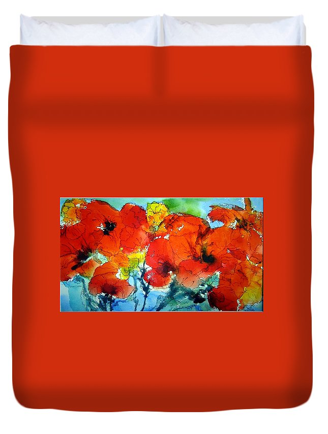 Poppies Duvet Cover featuring the painting Poppy Bouquet by Anne Duke