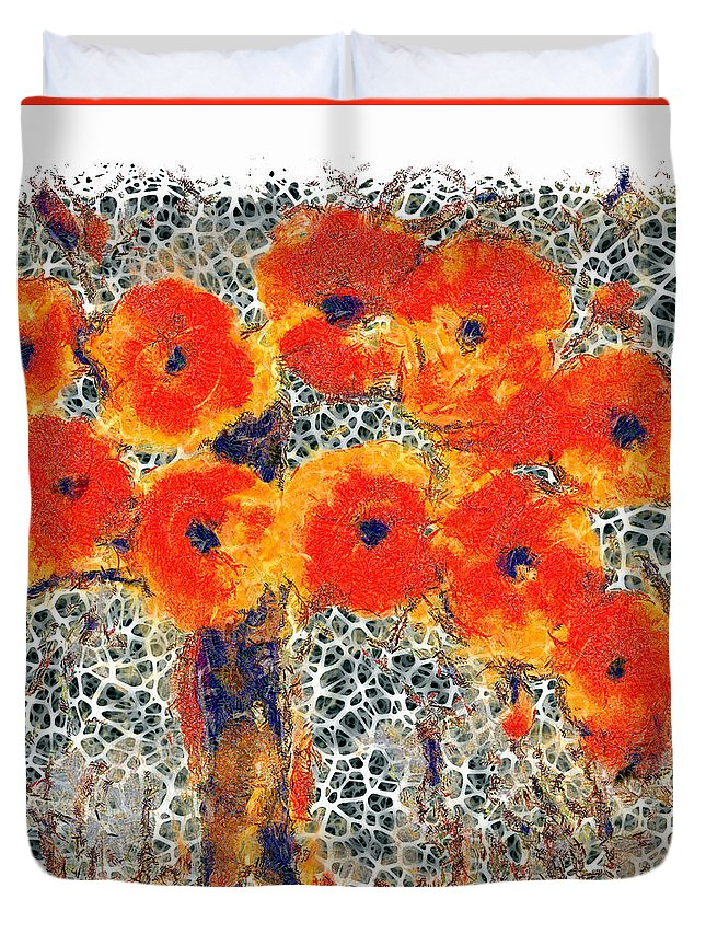 Floral Duvet Cover featuring the digital art Poppy Bouquet II Pf by Ronald Bolokofsky