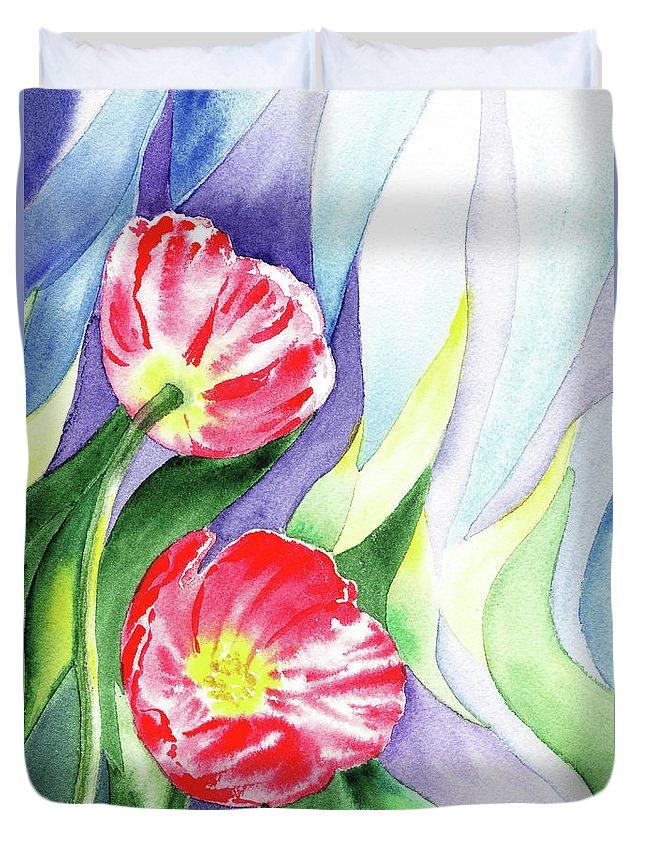 Poppy Duvet Cover featuring the painting Poppy Couple Gentle Wind by Irina Sztukowski