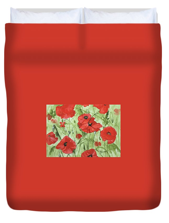 Red Duvet Cover featuring the painting Poppy Field 1 by Jean Blackmer