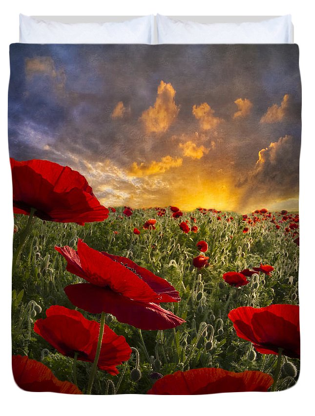 Appalachia Duvet Cover featuring the photograph Poppy Field by Debra and Dave Vanderlaan