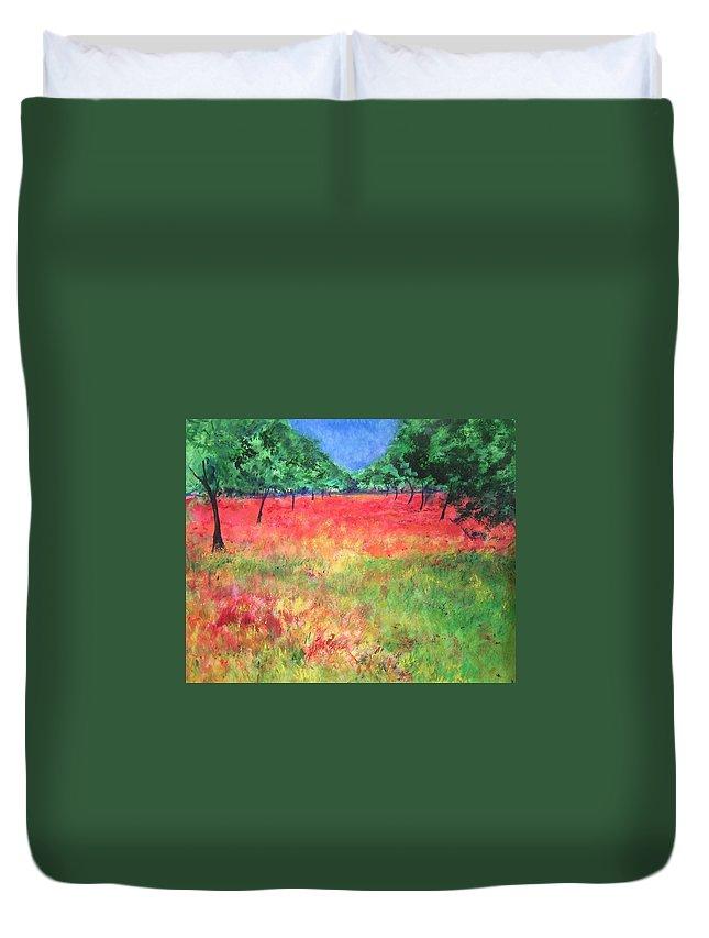 Original Landscape Painting. Poppy Field Duvet Cover featuring the painting Poppy Field II by Lizzy Forrester