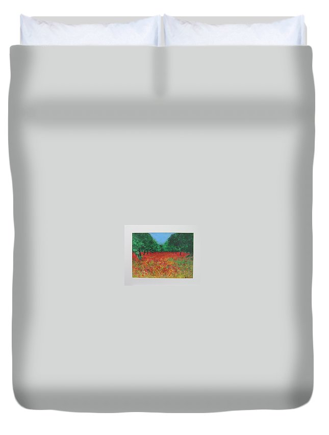 Poppy Duvet Cover featuring the painting Poppy Field In Ibiza by Lizzy Forrester