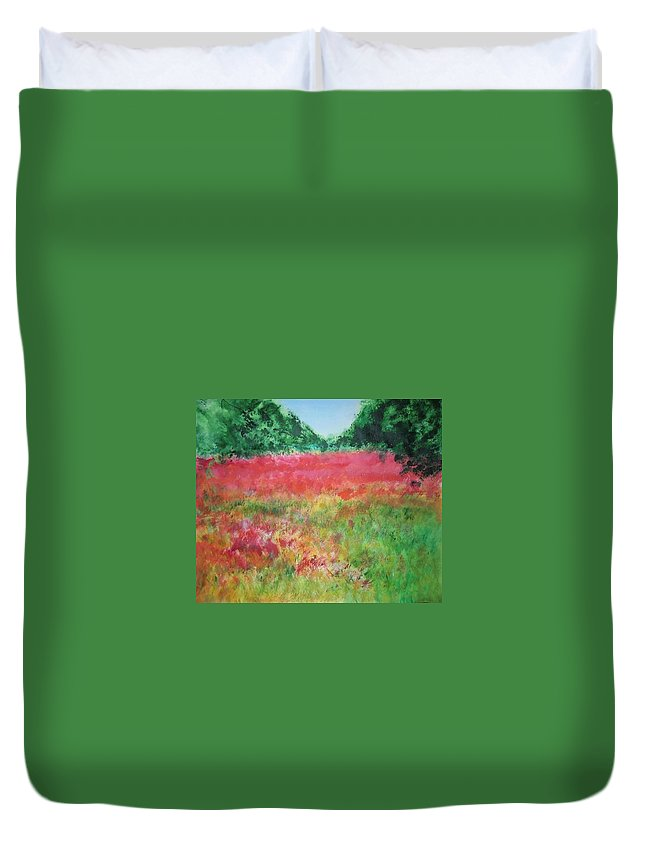 Lanscape Duvet Cover featuring the painting Poppy Field by Lizzy Forrester