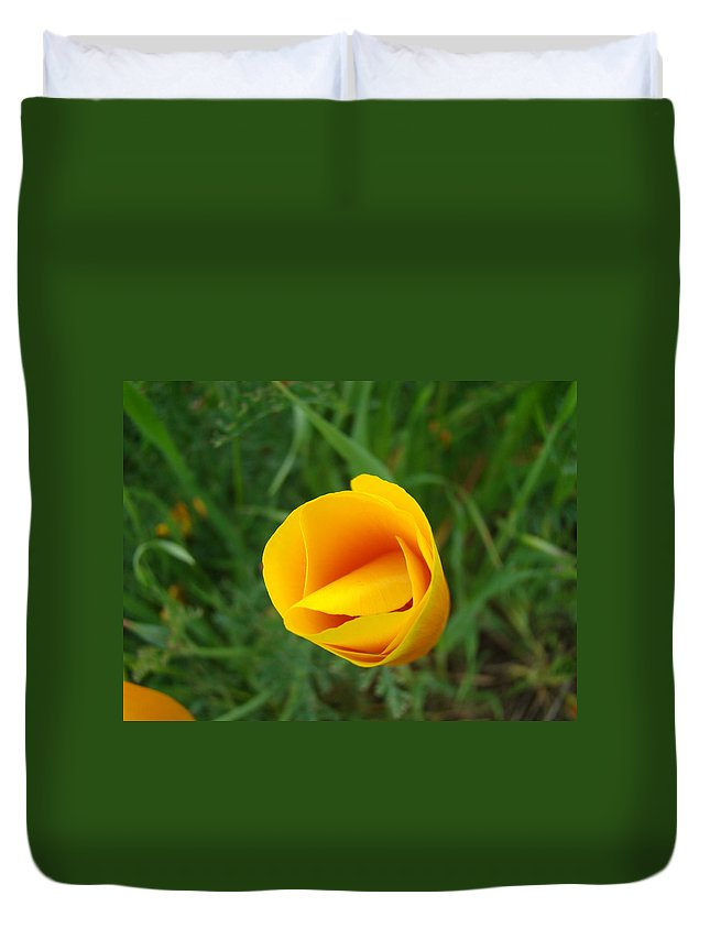�poppies Artwork� Duvet Cover featuring the photograph Poppy Flower Bud 9 Orange Poppies Green Meadow Art Prints Baslee Troutman by Baslee Troutman