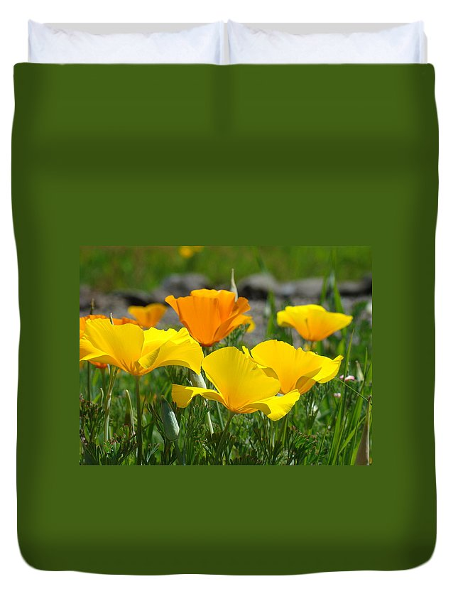 �poppies Artwork� Duvet Cover featuring the photograph Poppy Flower Meadow 14 Poppies Orange Flowers Giclee Art Prints Baslee Troutman by Baslee Troutman