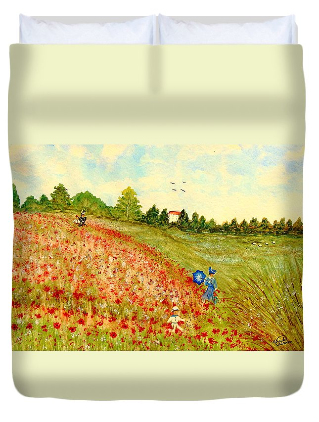 Landscape Duvet Cover featuring the painting Poppy Hill by Ursula Coccomo