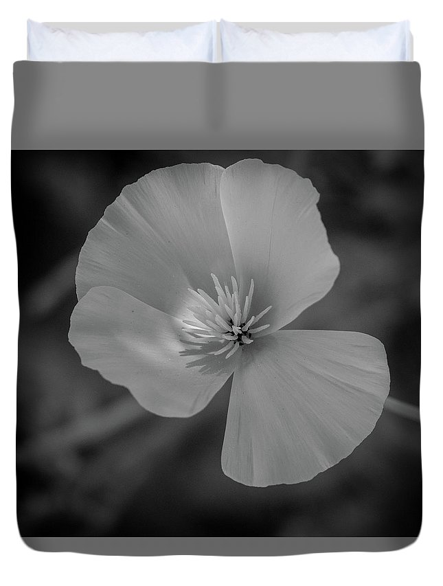 B&w Duvet Cover featuring the photograph Poppy Monochrome Macro by Randy Herring
