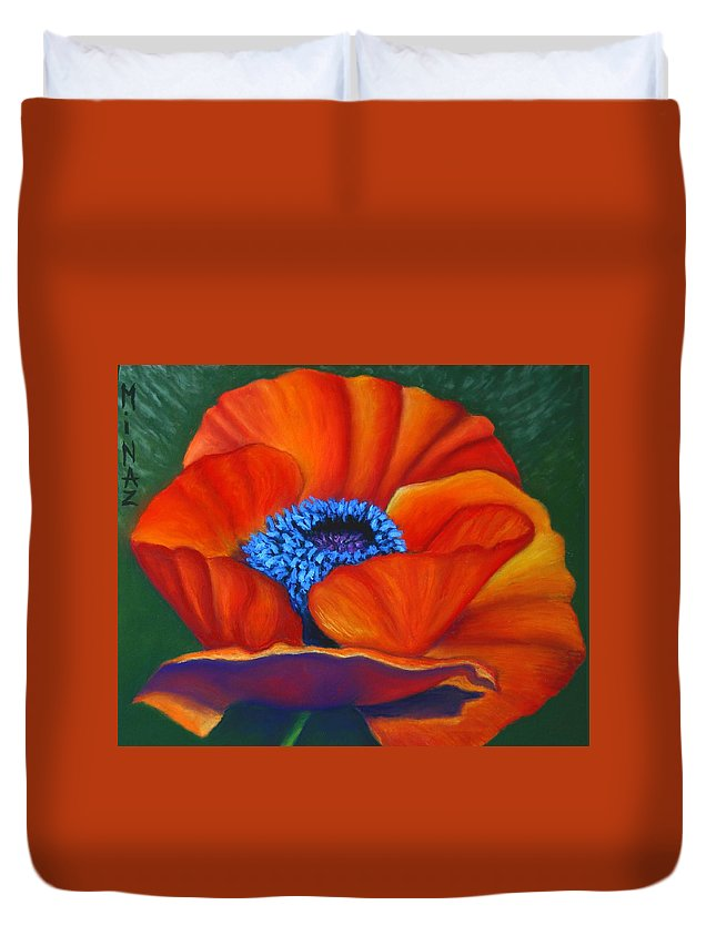 Red Flower Duvet Cover featuring the painting Poppy Pleasure by Minaz Jantz