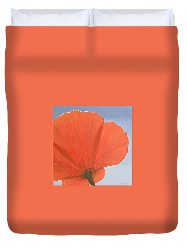 Flower Duvet Cover featuring the painting Poppy by Rob De Vries