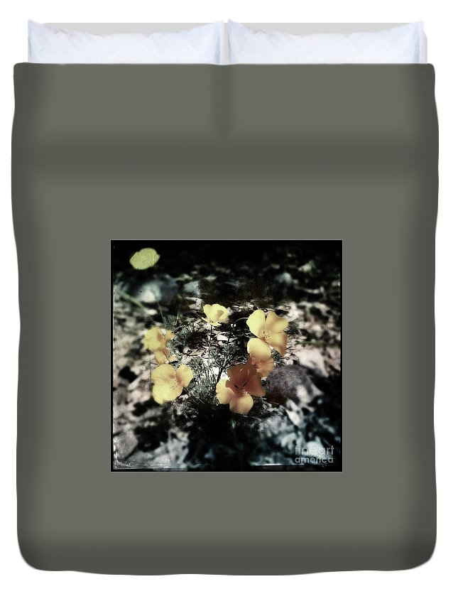 Poppy Duvet Cover featuring the photograph Poppy Shadows by Collective Seventy
