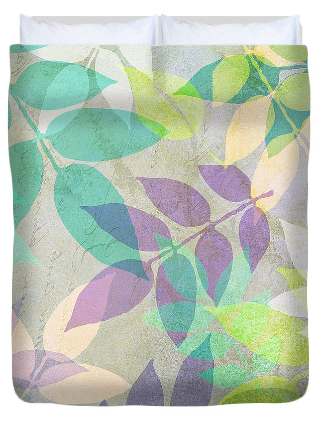 Leaf Duvet Cover featuring the painting Poppy Shimmer IIi by Mindy Sommers