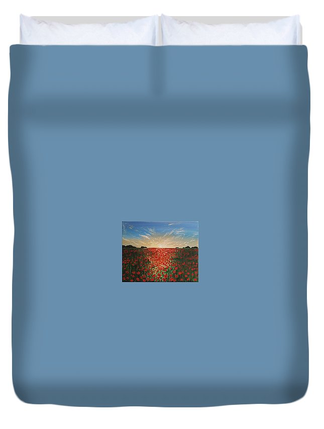 Landscape Duvet Cover featuring the painting Poppy Sunset by Paul Asaro