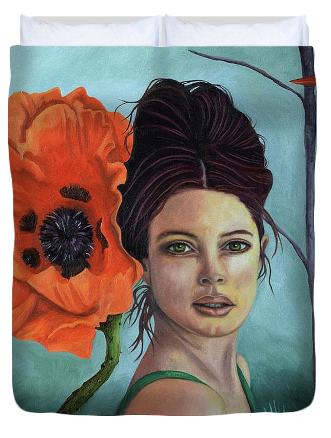 Poppy Duvet Cover featuring the painting Poppy Updated Photo by Leah Saulnier The Painting Maniac