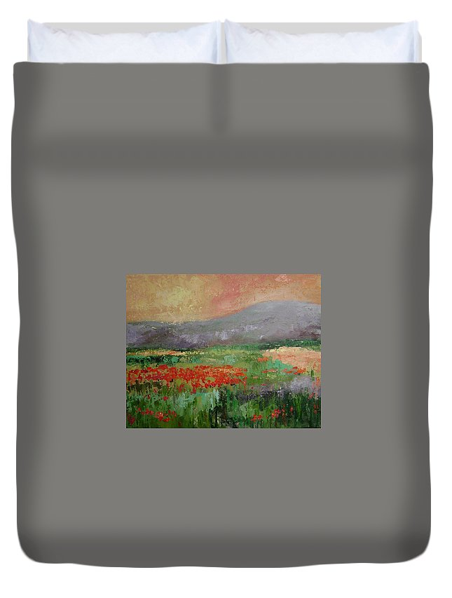 Poppies Duvet Cover featuring the painting Poppyfield by Ginger Concepcion