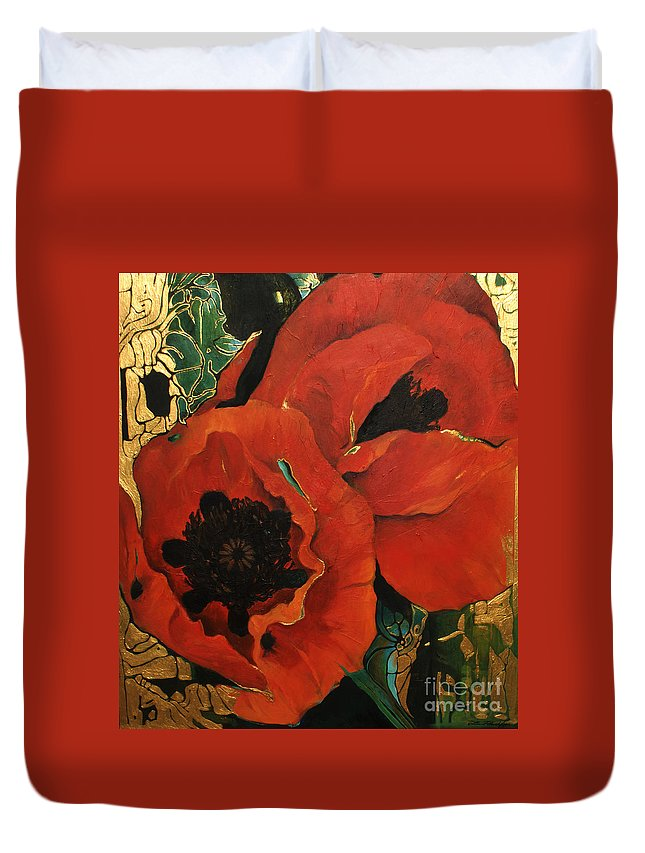 Lin Petershagen Duvet Cover featuring the painting Poppygold by Lin Petershagen