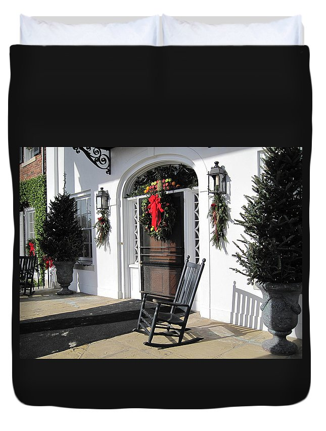 Photography Duvet Cover featuring the photograph Porch At Boone Hall Plantation Charleston Sc by Susanne Van Hulst