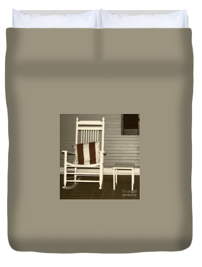 Rocking Chair Duvet Cover featuring the photograph Porch Rocker by Debbi Granruth
