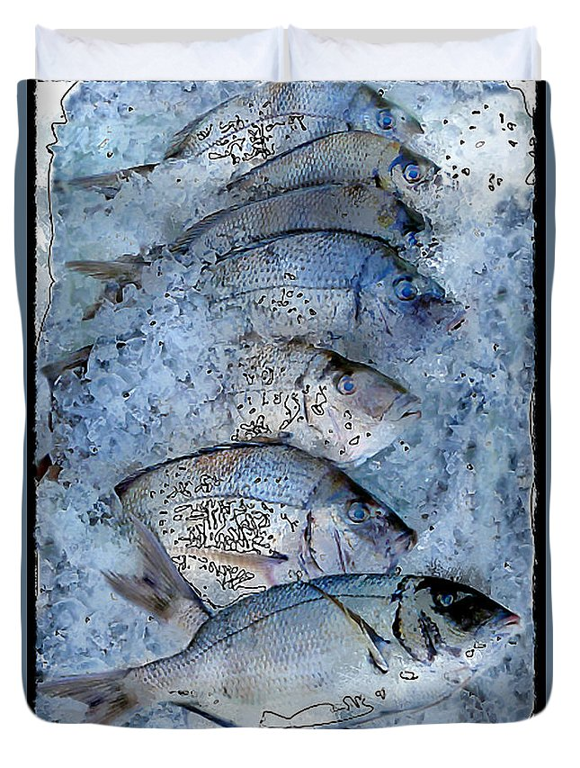 Porgy Duvet Cover featuring the photograph Porgies On Ice by Dee Flouton
