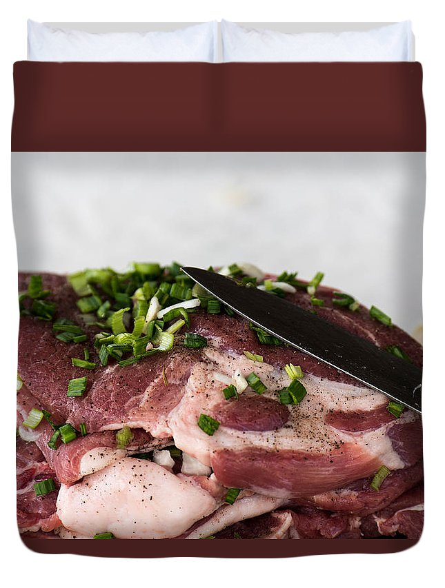 Background Duvet Cover featuring the photograph Pork meat with green garlik and knife by Adrian Bud