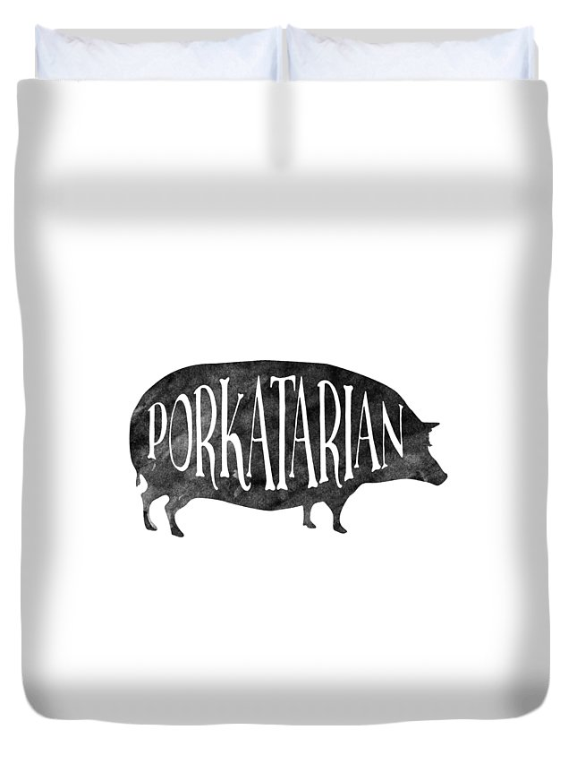 Pig Duvet Cover featuring the digital art Porkatarian Pig by Antique Images
