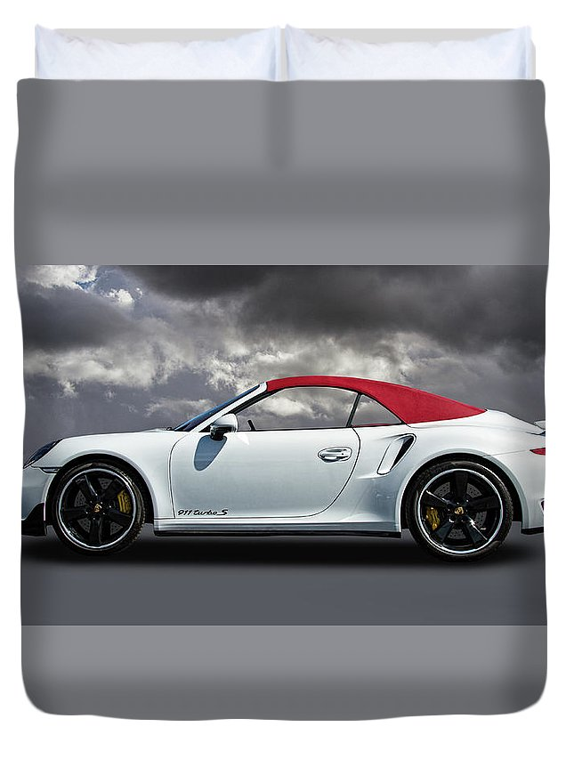 Porsche Duvet Cover featuring the photograph Porsche 911 Turbo S With Clouds by Nick Gray