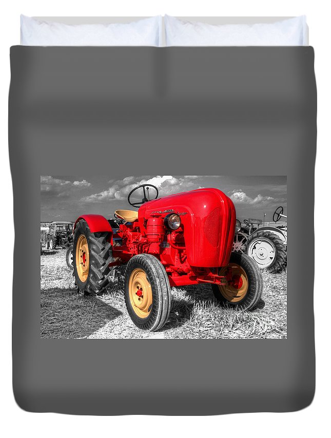 Porsche Duvet Cover featuring the photograph Porsche Tractor by Rob Hawkins