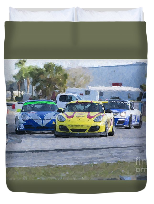 Automobile Duvet Cover featuring the photograph Porsches Rounding The Corner At Sebring by Tad Gage