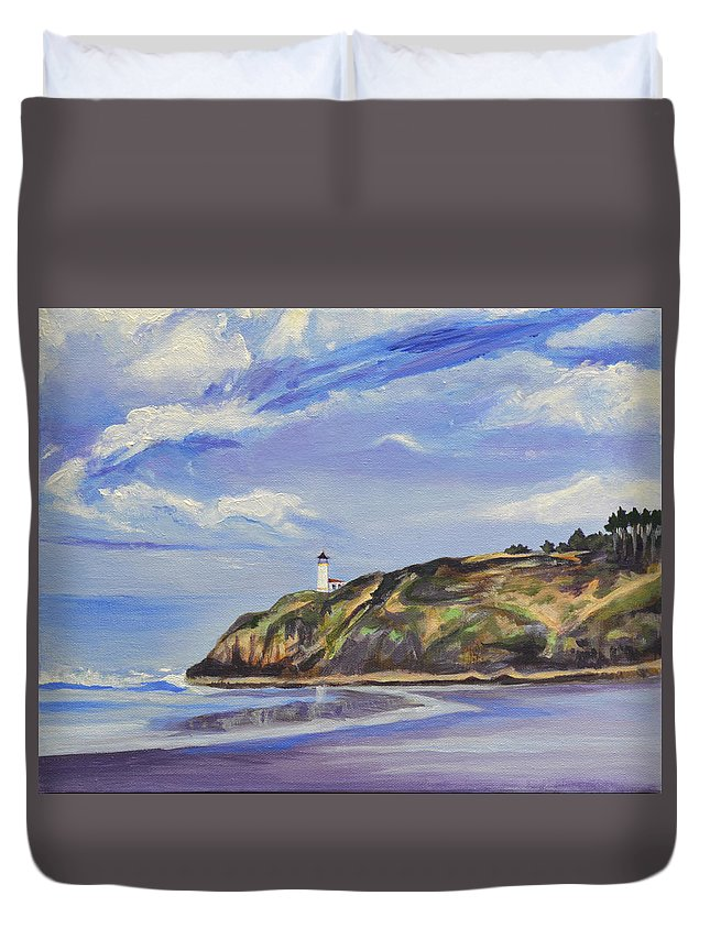 Painting Duvet Cover featuring the painting Port in a Storm by Mary Chant